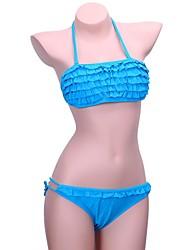 Skymoto®Women's Blue Wrinkle Bandeau Bikini Set