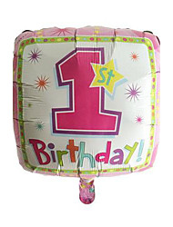 1st Birthday Square Pink Metallic Balloon For Girl