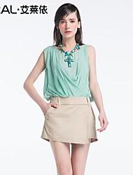 trabalho vestido da senhora verão de eral®women desgaste magro elegante o-pescoço sem mangas patchwork de uma peça vestido de chiffon das mulheres