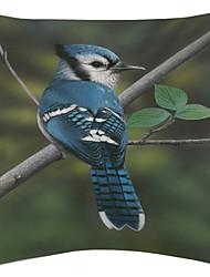 twopages® azul vívido padrão pássaro de veludo capa almofadas decorativas