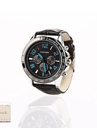 presente personalizado novo mostrador preto esporte faixa de couro analógico gravado relógio dos homens de estilo