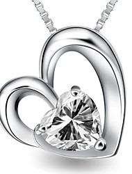 Ladies' Silver Heart Pendants With Cubic Zirconia