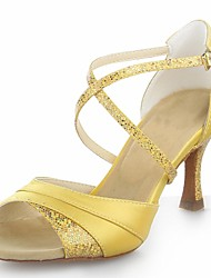 Non Customizable Women's Dance Shoes Latin Satin/Sparkling Glitter Flared Heel Red/Silver/Gold