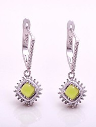 AS 925 Silver Jewelry  Olive green exquisite small square Earrings