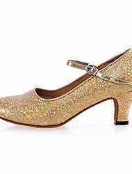 Women's Dance Shoes Modern Paillette Cuban Heel Silver/Gold