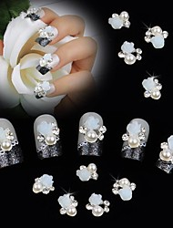10pcs белый 3d роза Pearl Rhinestone DIY аксессуары Nail Art Decoration