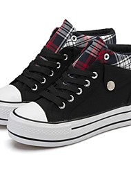 Women's Shoes Canvas Low Heel Round Toe / Closed Toe Fashion Sneakers Casual Black / Blue / Red