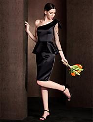 LAN TING BRIDE Mi-long Une Epaule Robe de Demoiselle d'Honneur - Petite Robe Noire Sans Manches Satin