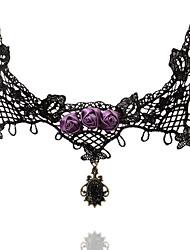 steampunk®elegant старинных воротник дроссель ожерелья цепь с pruple роз