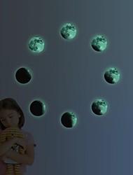 funlife® 8pcs dia 10cm / 4po monde lueur autocollant clair de lune dans l'obscurité ambiante lune muraux enfants planète lumineuse fl1076