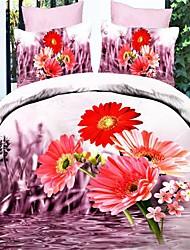 Duvet Cover Set,3D Oil Painting Bedding Set  4pcs Comforter Duvet Covers Bed Sheet Bedclothes Set with Flower Pattern