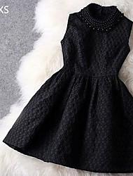 hdxs женские стоять тонкий бисером Sleevless партия панель жаккарда платье