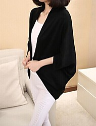 Damen Standard Mantel / Capes Solide Schwarz / Grau Langarm Baumwolle Frühling / Herbst Mittel Mikro-elastisch