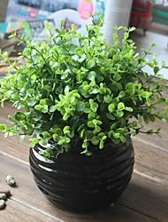 """9.5 """"h einfachen Stil Simulation der grünen Gras mit schwarzen Kugel gewellt Keramikvase"""
