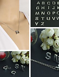 Fashion Brief 26 Words Silver Alloy Pendant Necklace(1Pc)