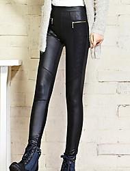 imitações trecho leggings de couro das mulheres
