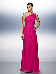 TS Couture® Prom / Formal Evening Dress Plus Size / Petite A-line One Shoulder Floor-length Chiffon with Beading / Side Draping