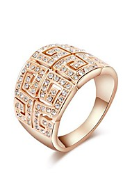 clássicas de cristal austria placa de ouro de liga do vintage anéis de instrução das mulheres (1 pc)