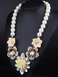 luna européen diamonade en alliage vintage perle n00399 collier jaune, bleu