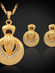U7® New Women's Pendant Necklace Earrings Set 18K Real Gold Plated Austrian Rhinestone Exquisite Jewelry Gift