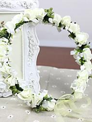 pe mousse rosettes blanches des fleurs artificielles faites à la main Coiffes de mariage guirlande nuptiale bandeau des femmes