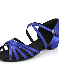 Non Customizable Women's/Kids' Dance Shoes Latin Satin Cuban Heel Black/Blue/Other