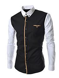johnny col montant de la mode à manches longues épissage mince t-shirts pour hommes