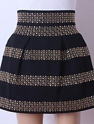 perlas de las mujeres faldas de moda de cintura alta