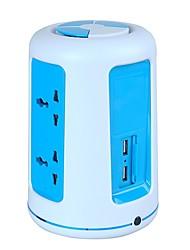 protector de sobrecarga 5v / 2.1a 2 piso regletas adaptador uk con 6 enchufes universales y 2 usb