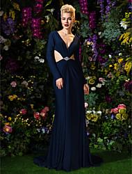 TS Couture Formal Evening Dress - Dark Navy Sheath/Column V-neck Court Train Jersey