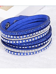 Mix Colours Handmade Rivet Velvet Bracelet Bling Rhinestone Wrap Leather Bracelet Hot Drill Bangle
