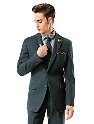 sólido traje de ajuste de color verde oscuro sastre en lana