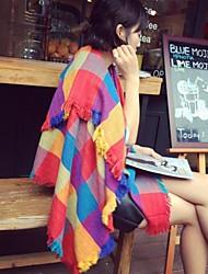 damesmode all-matching contrasterende kleur rasterpatroon shawls (meer kleuren)