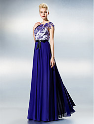 TS Couture Prom Dress - Color Block A-line Jewel Floor-length Chiffon Lace with Lace