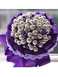 mão quente D227 fez simulação de noiva pérola segurando flores bouquets romântico branco noiva roxo bouquet de casamento de noiva