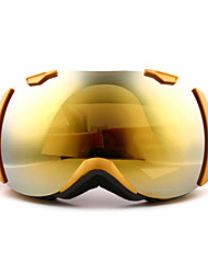 BASTO Classic Windproof Golden Frame Mirror Lens Skiing Snow Goggles