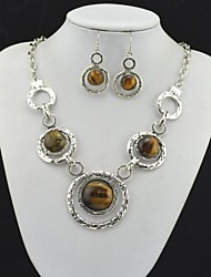 Toonykelly Vintage Look Turquoise Amethyst Tiger Stone(Earring and Necklace) Jewelry Set