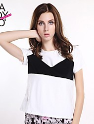 haoduoyi® Women's Cover The Bra Black White Block Sexy Lingerie Look Short Sleeve T-Shirt