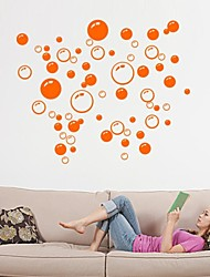 stickers muraux stickers muraux colorés, mignon amovible en PVC La beauté mur orange de bulle autocollants.