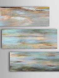 pintura a óleo abstrata uttermost set horizonte visão moderna de 3 pintados à mão lona, com quadro esticado