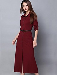 Women's Casual/Daily Dress,Solid Shirt Collar Midi Long Sleeve Red Cotton / Polyester Spring / Fall / Winter