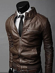 Romeo Men's Solid Color Sheath Pu Jacket