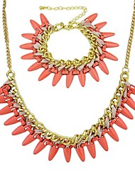 Costume Jewelry Alloy Spike Necklace And Bracelet Wholesale Jewelry Set