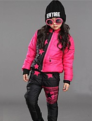Girl's Stand Collar with Starts Three-piece Clothing Sets