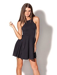 Women's Solid Black Dress , Sexy/Casual Deep U/Crew Neck Sleeveless