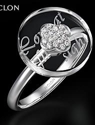 mclon platine de mode avec bague de déclaration de cristal de diamant