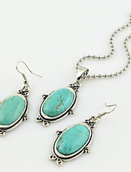 Toonykelly Vintage Antique Silver Turquoise Stone (Earring and Necklace) Jewelry Set