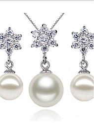925 Sterling Silver with CZ Diamante Pearl Earring And Necklace Jewelry Sets