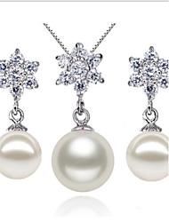 925 argent sterling avec cz boucle d'oreille de perles et de strass ensembles de bijoux de collier