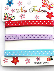 3/8 Inch Classic Heart-shaped Pattern Rib Ribbon Printing Ribbon- 1 Yards Per Roll (Three Color One Card)
